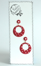 "colored earrings with ""pois"""
